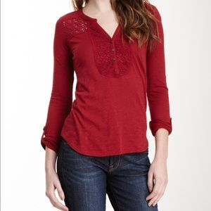Lucky Brand Red Lace Blouse